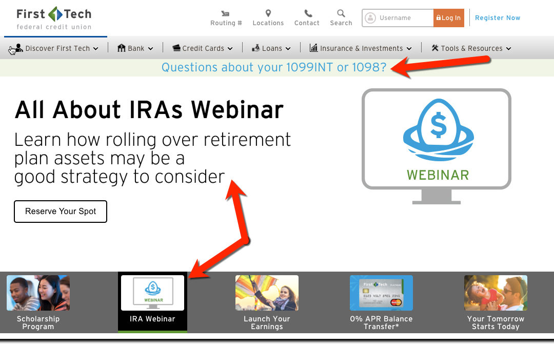 Taxing UX: Tech First Credit Union Features IRA Webinar on Homepage