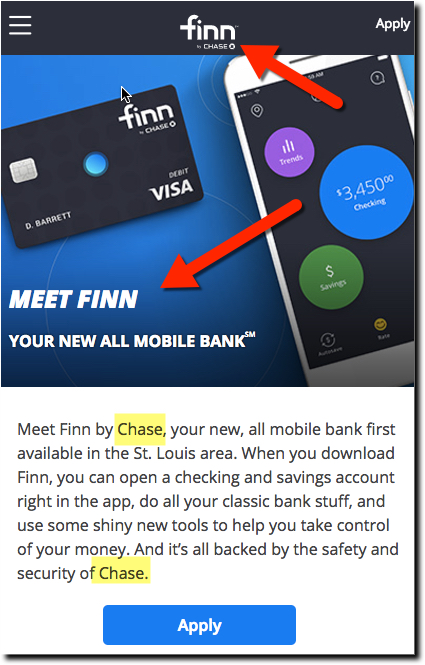 Chase Bank Tests Finn, a Mobile-First Brand